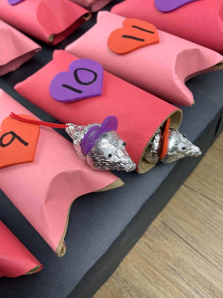 Valentines Day advent calendar with candy kisses looking like mice