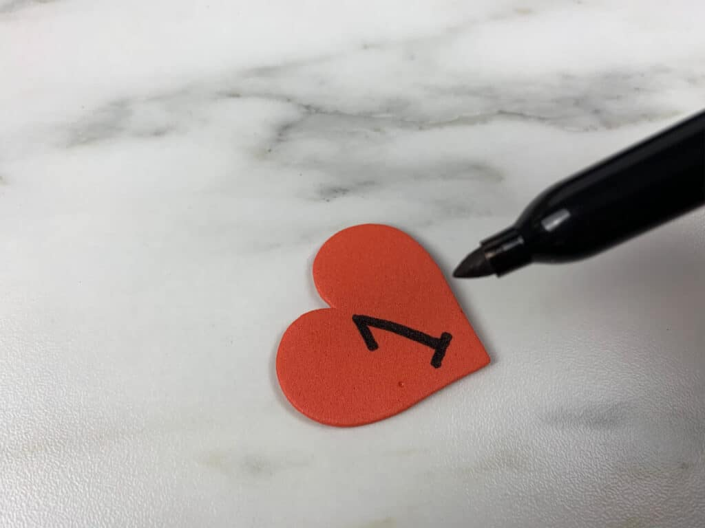 heart with number 1 written on it