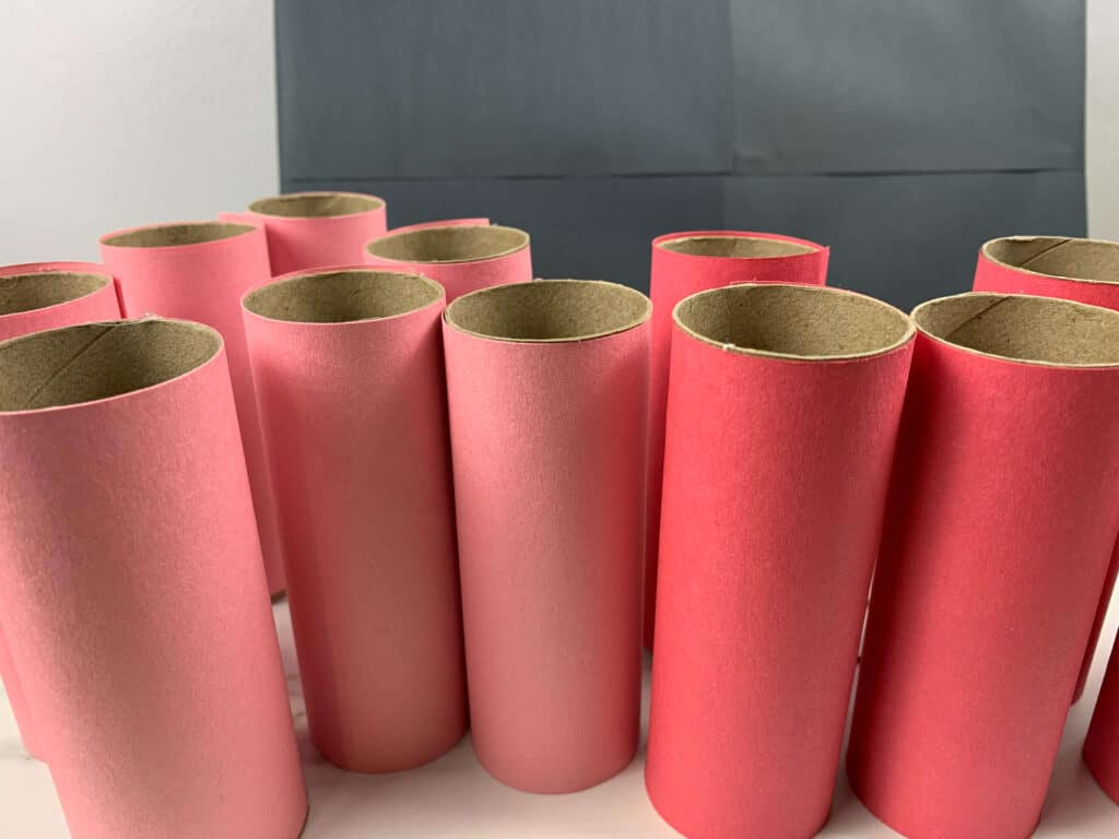 toilet paper rolls covered in construction paper