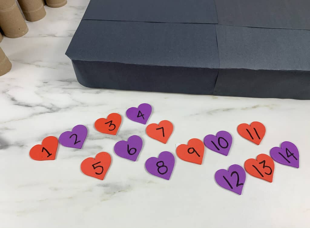 14 hearts with numbers 1-14 for valentines advent calendar