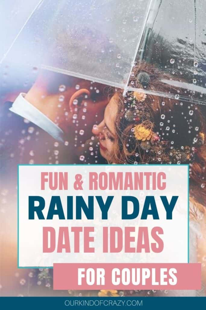 "Couple Under Umbrella - Post says ""Fun and Romantic Rainy Day Date Ideas For Couples"""