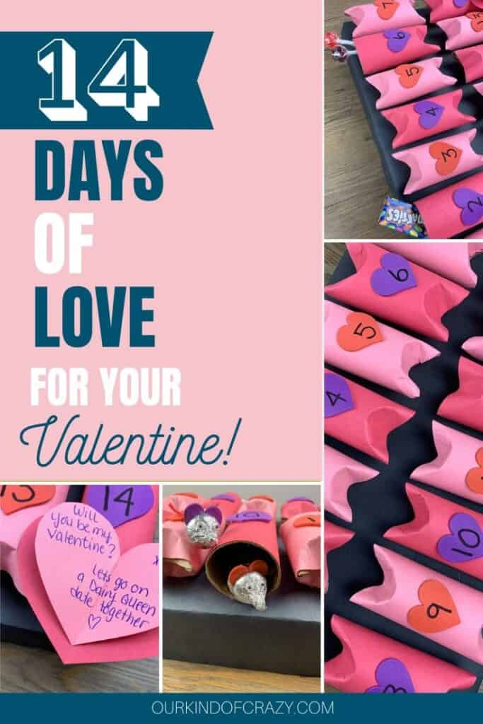 "Collage of advent calendar -Pin reads ""14 Days Of Love For Your Valentine"""