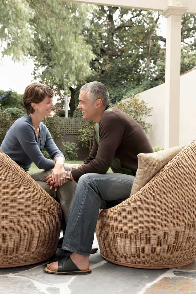 couples talking outside using communication exercises