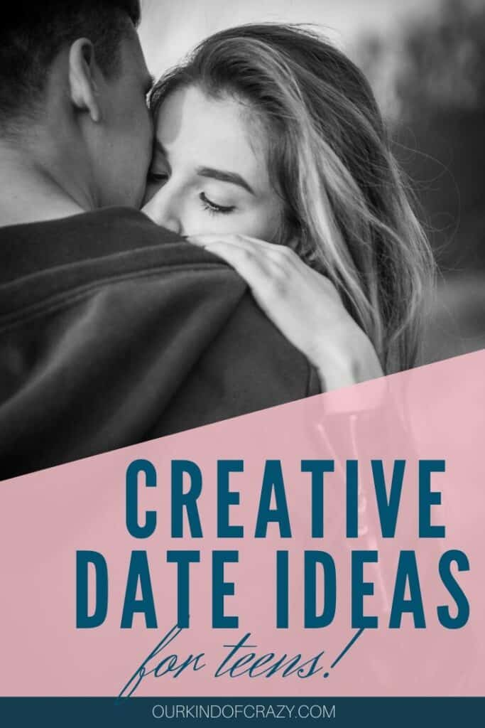 "Teen couple hugging Text ""Creative Date Ideas For Teens!"""