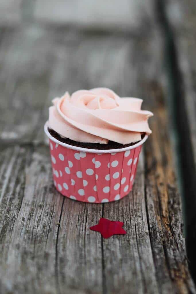 pink frosted cupcake