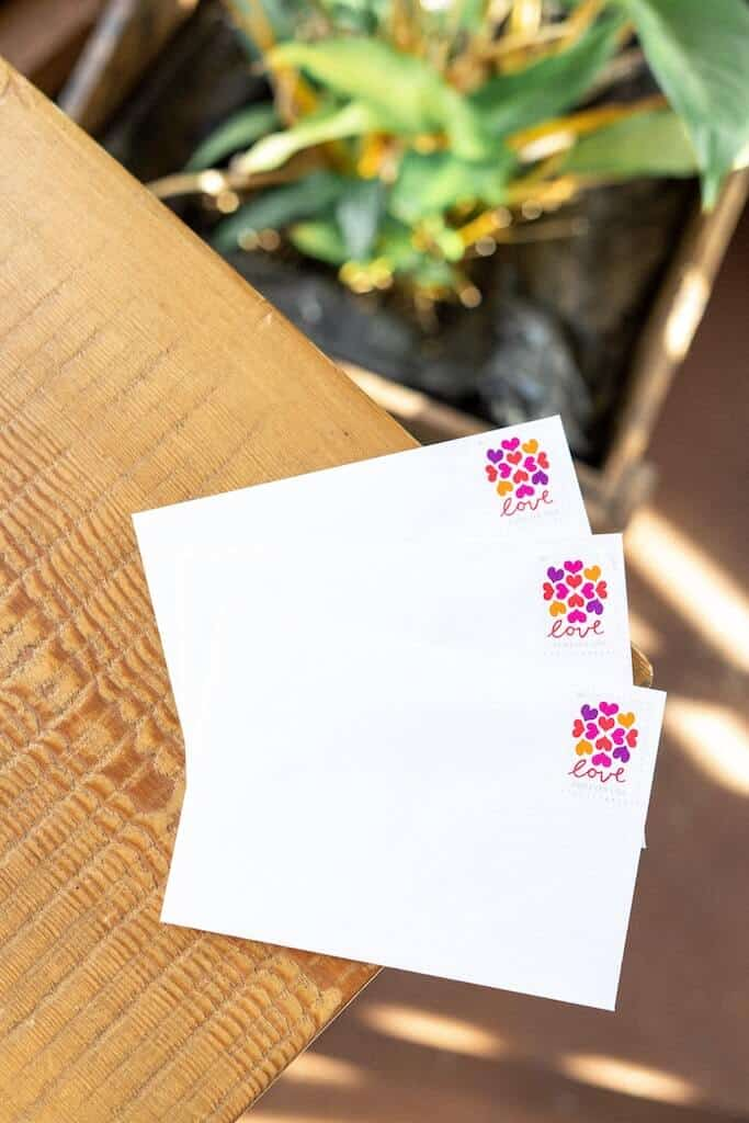 "Open when envelopes with ""love"" stamp"