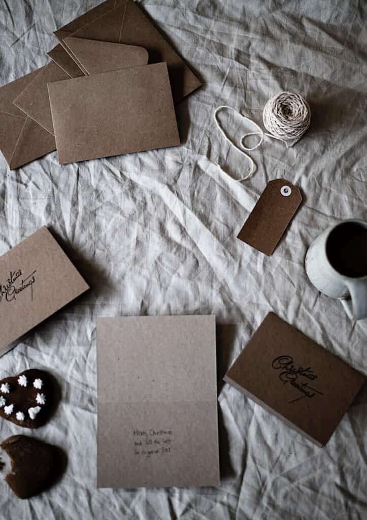 envelopes and letters with coffee mug and string for open when gift ideas