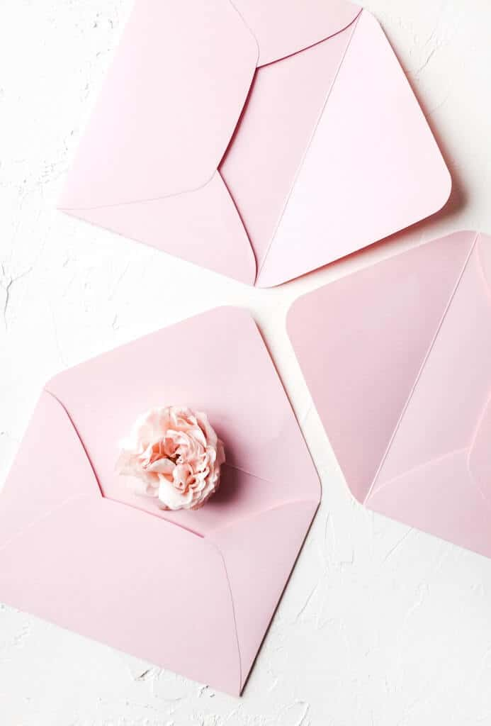 Pink envelopes for open when letters