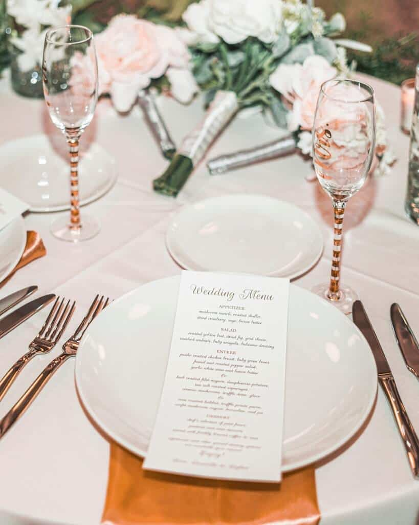 wedding menu on table setting