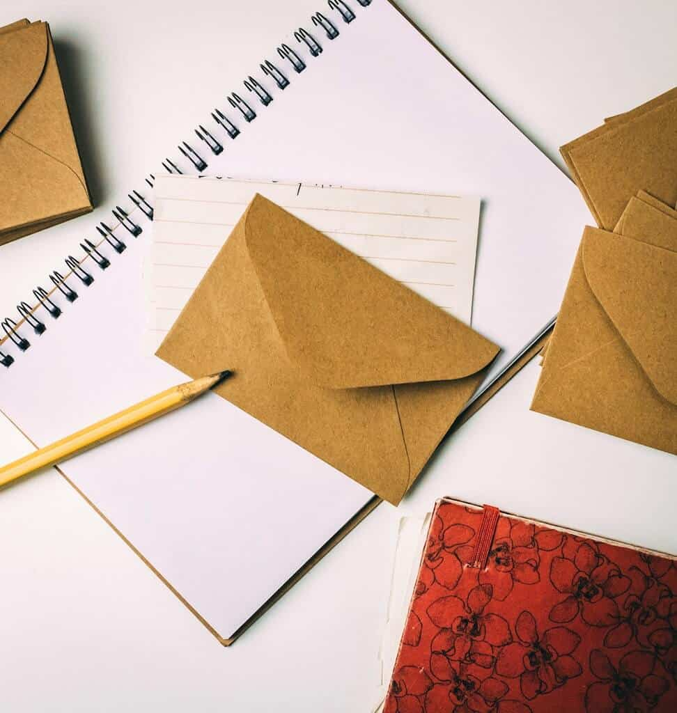 envelope and notepad for letter for open when ideas