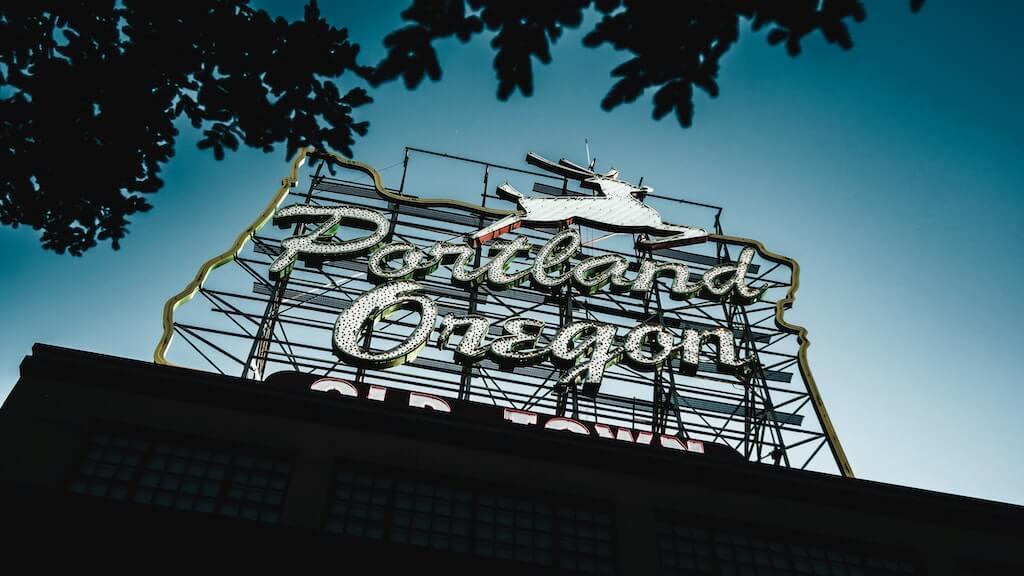 sign says Portland Oregon