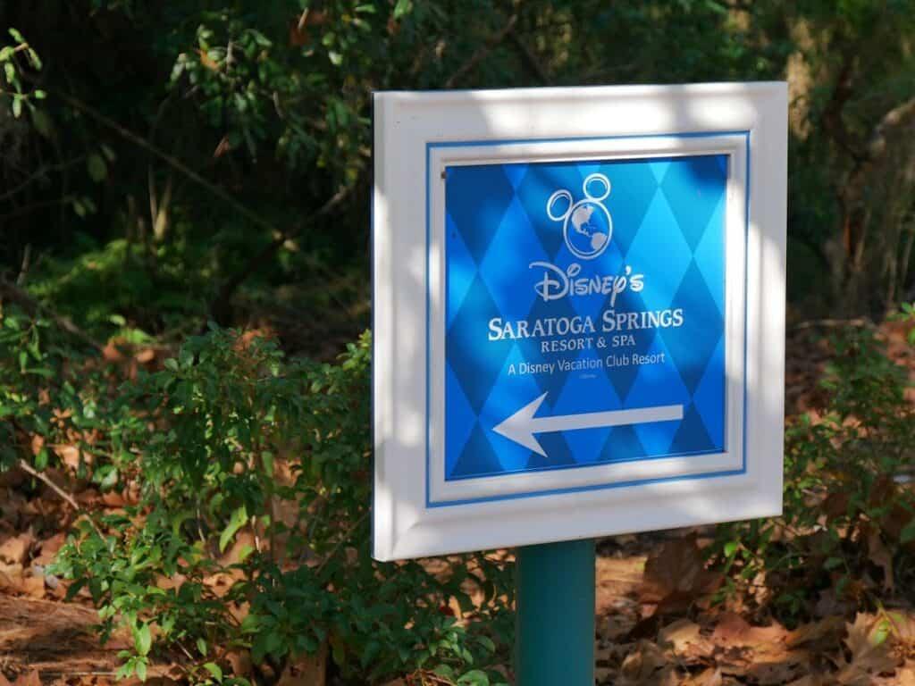 Sign at Disney World says Disney's Saratoga Springs Resort and Spa