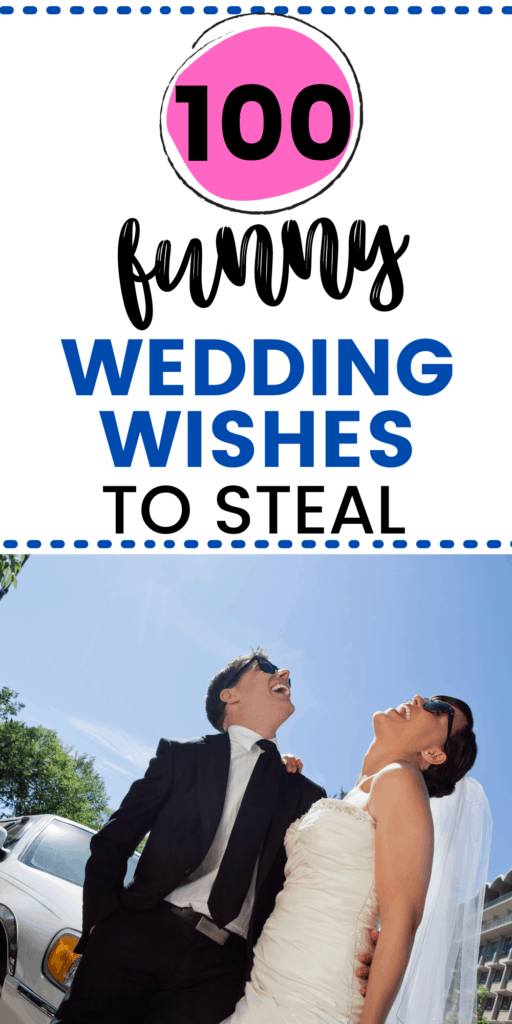 100 funny wedding wishes to steal with bride and groom laughing