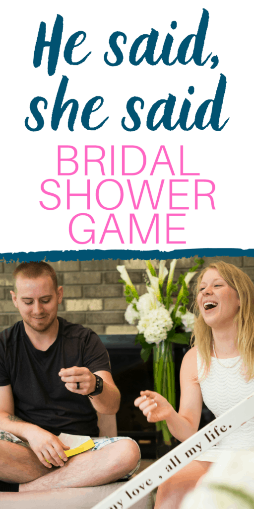 He Said, She Said Bridal Shower Game, with couple laughing at wedding shower playing a game.