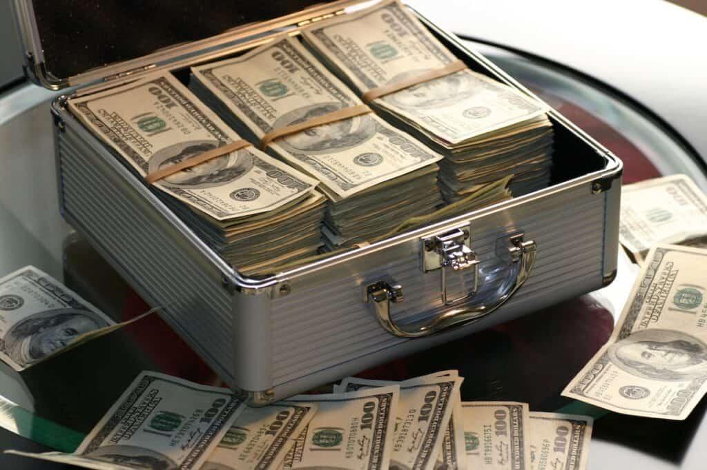 case of 100 dollar bills