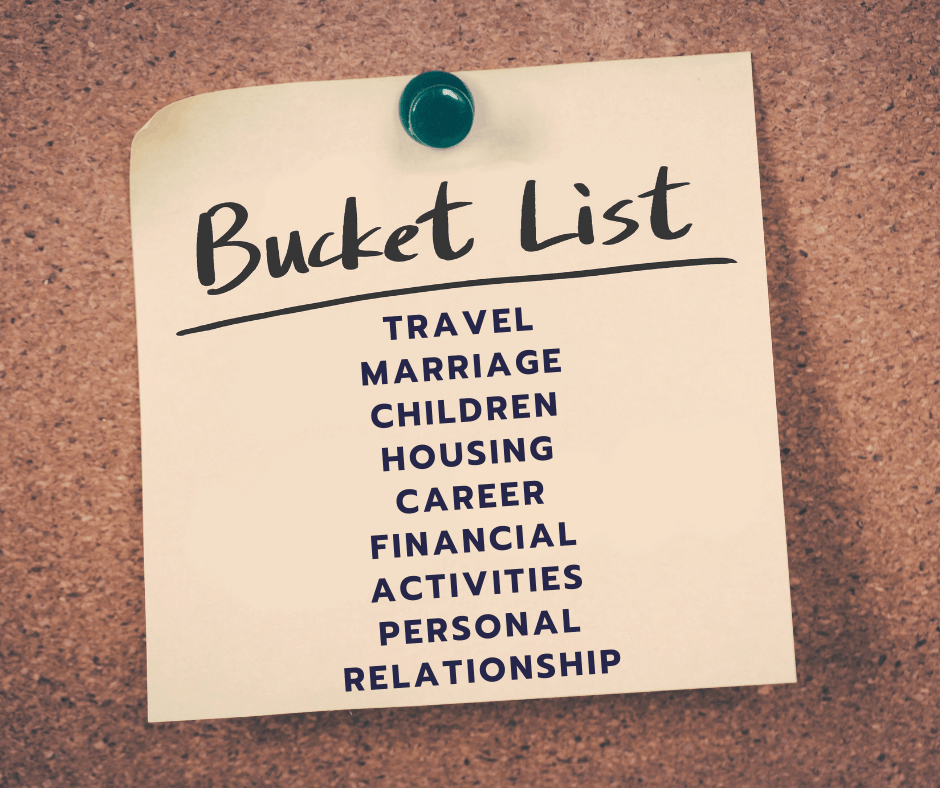 "Post it on cork board text reads ""Bucket List"" with categories"