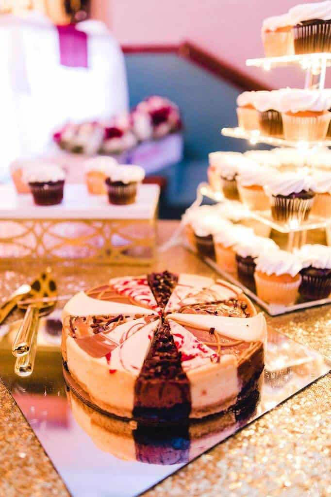 cheesecake sampler on a wedding dessert table