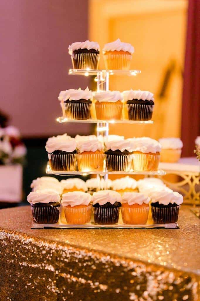 tiered plate of Sams club cupcakes at a wedding