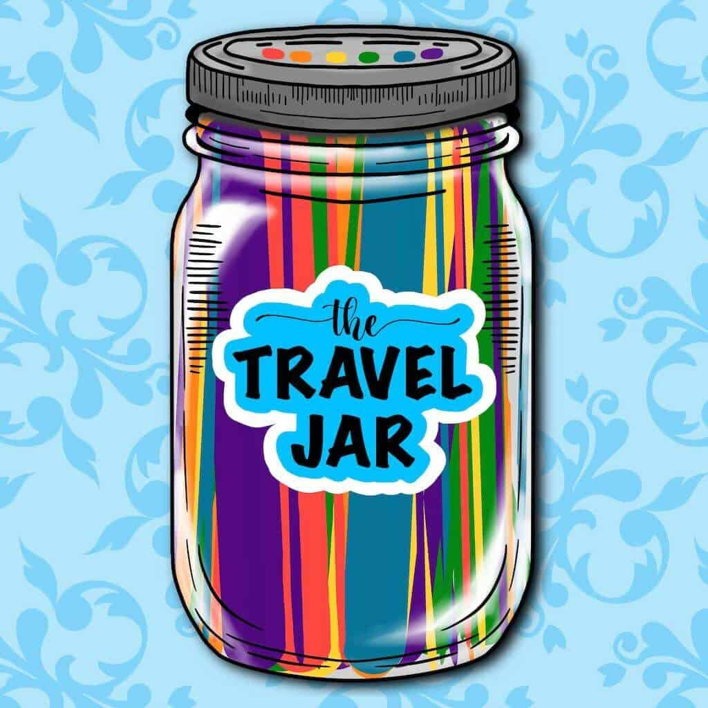 Cartoon Jar with popsicles sticks labeled The Travel Jar