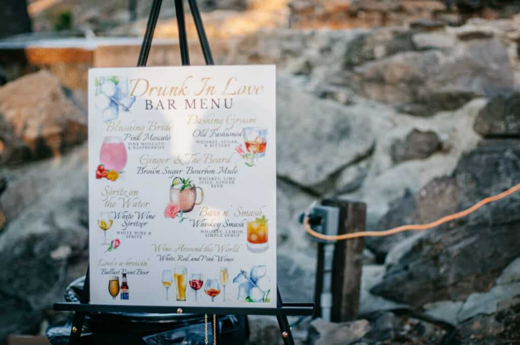 """Drunk In Love"" Bar Menu at wedding"