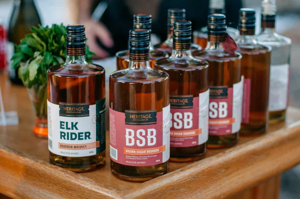 Bottles of whiskey for a DIY Wedding Bar