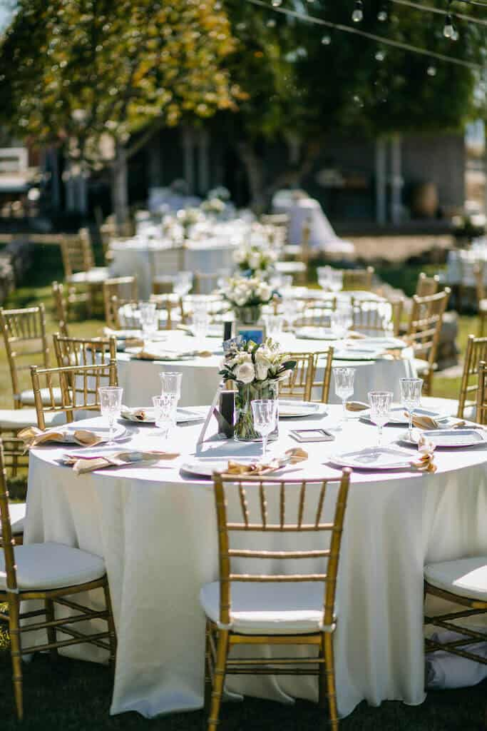 table settings at an outdoor wedding