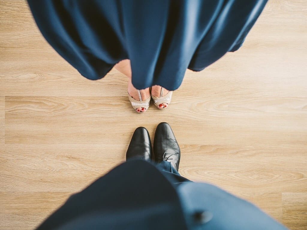 Man and woman feet on a dance floor