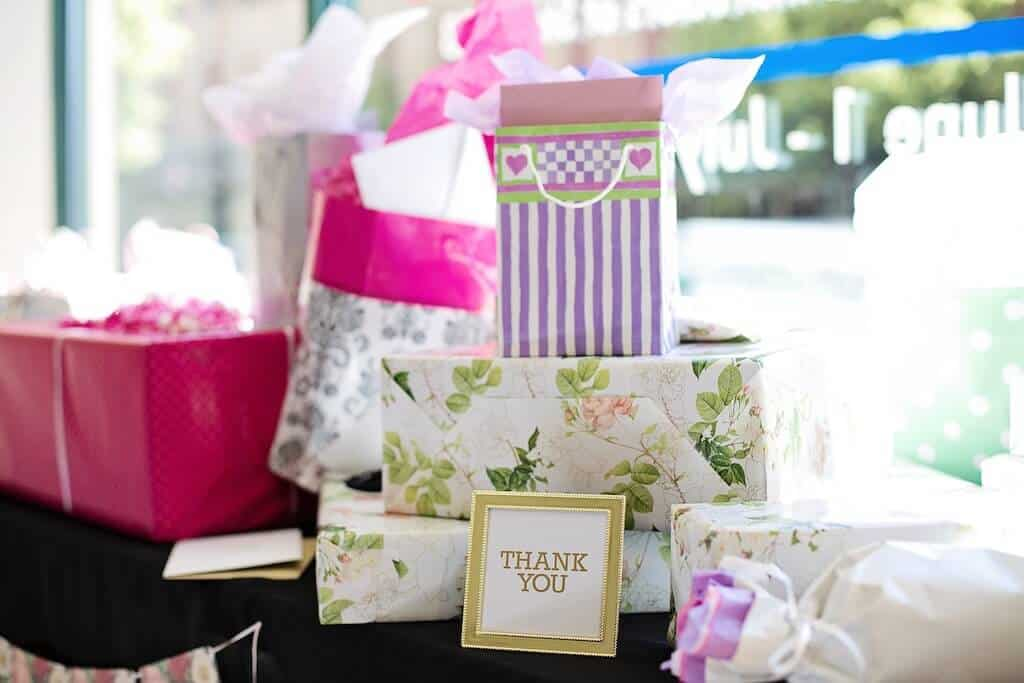 table of bridal shower gifts