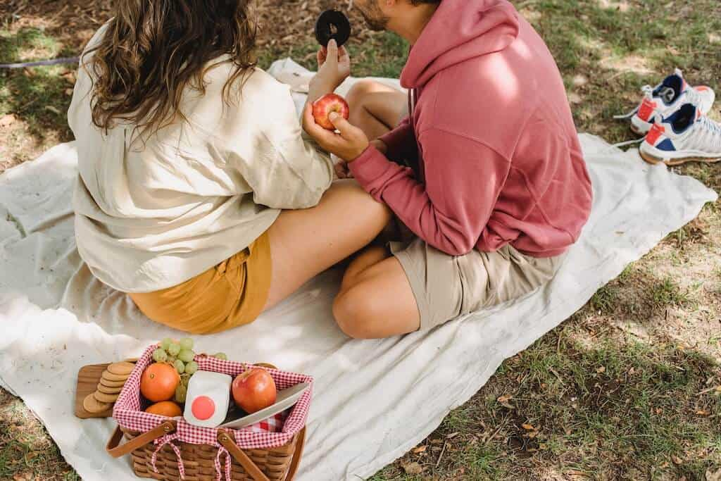 couple having a picnic with apples