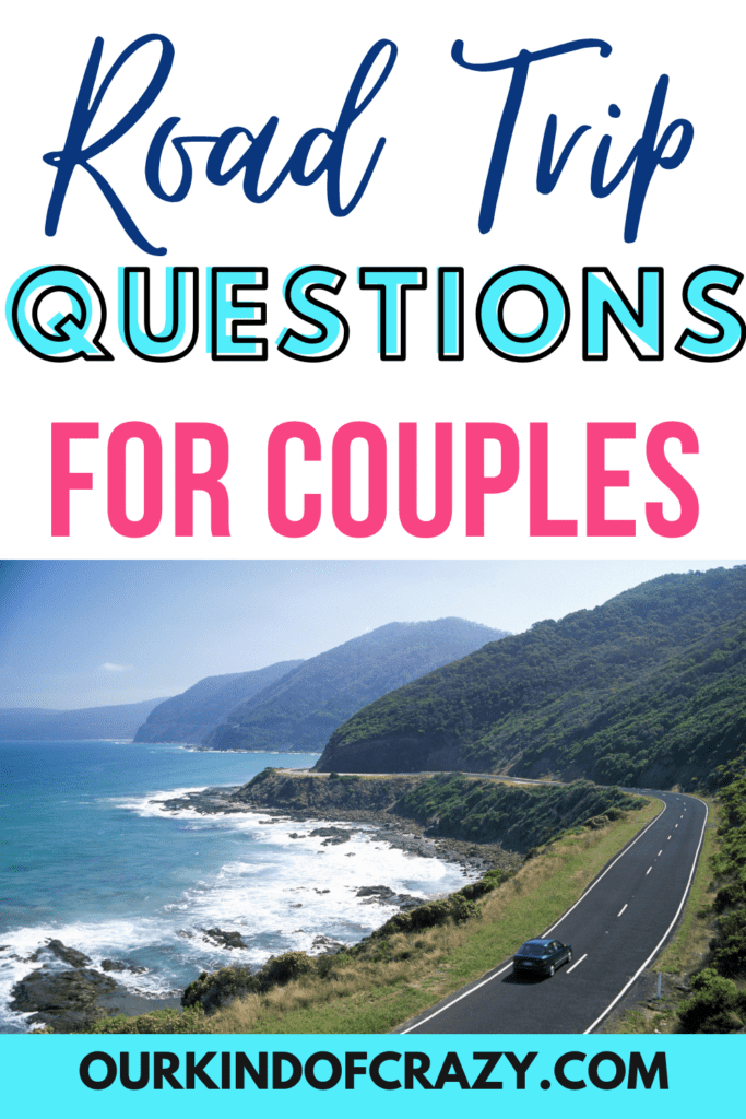 road trip questions for couples - with photo of car on a road by the ocean